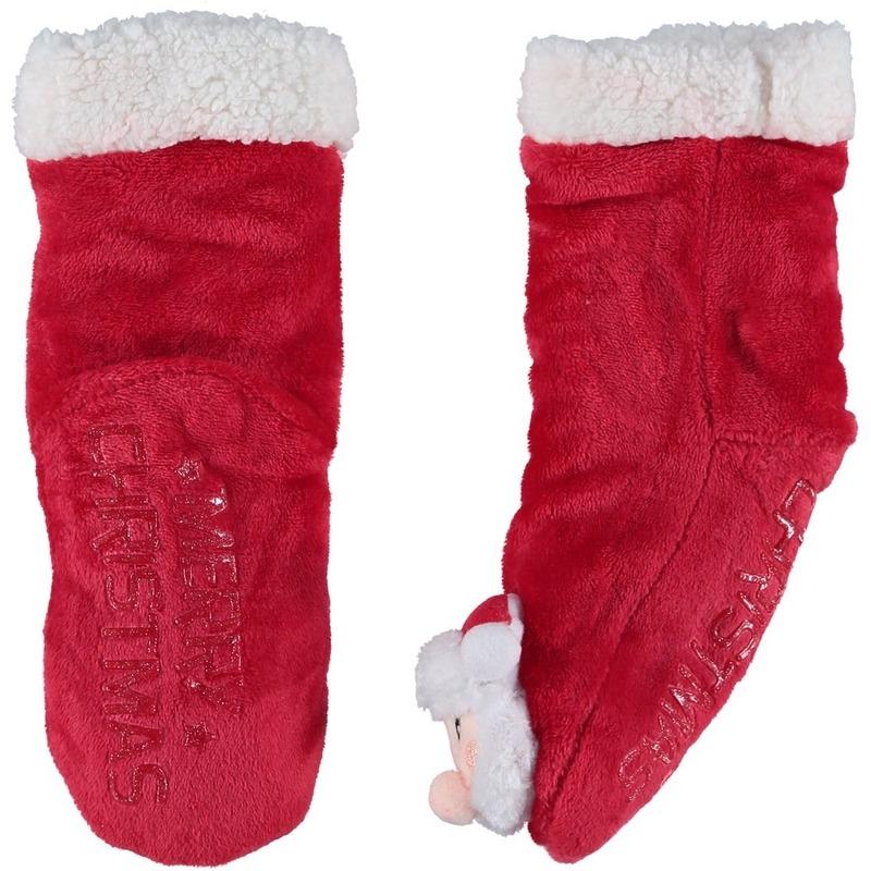 Rode warm gevoerde Kerstman kerstsokken voor kinderen