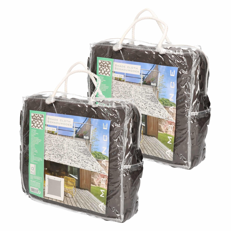 Set van 2x stuks camouflage schaduwdoeken donkergrijs vierkant 3 x 3 meter
