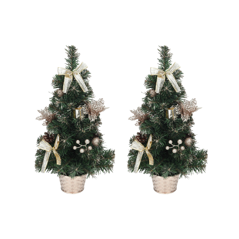 Set van 2x stuks kantoor-tafel kerstbomen met champagne-beige strikken versiering 50 cm
