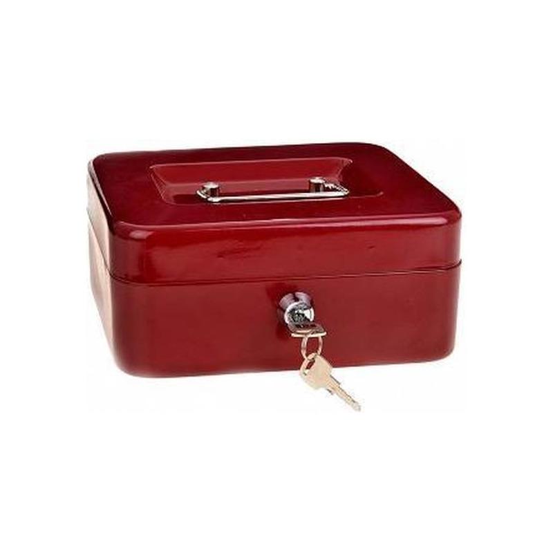 Set van 2x stuks metalen geldkluisjes-geldcassettes rood 20 cm