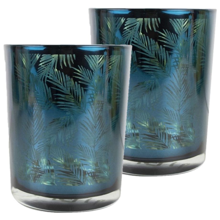 Set van 2x stuks theelichthouder-waxinelichthouder glas petrol blauw 10 cm palmblad print