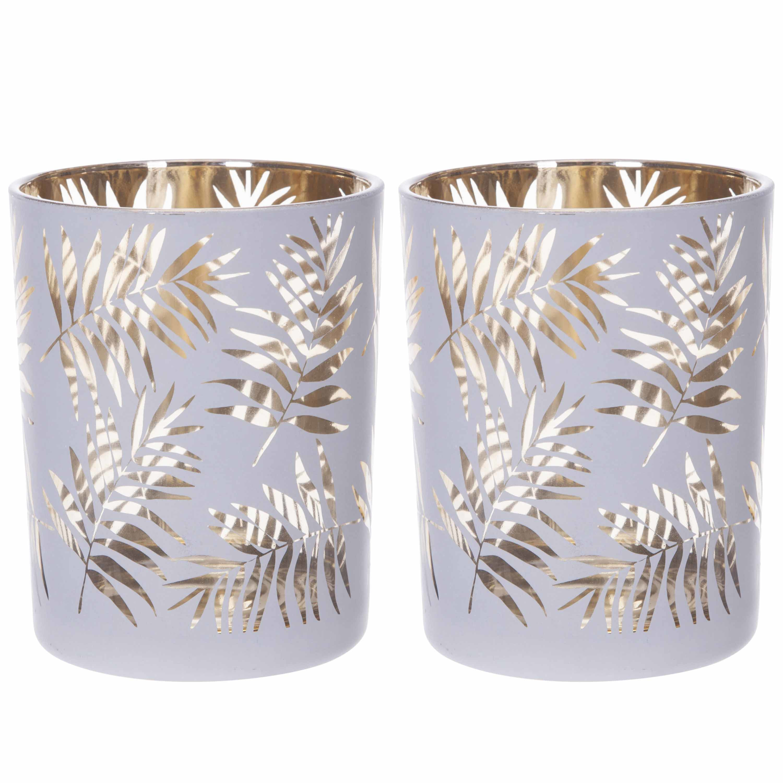 Set van 2x stuks theelichthouders-waxinelichthouders glas wit-goud bladeren print 12,5 cm