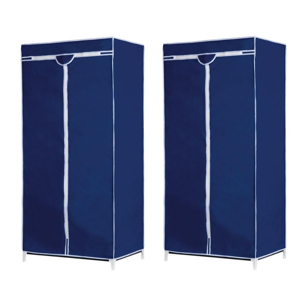 Set van 2x stuks tijdelijke mobiele kledingkasten-garderobekasten blauw met rits 160 cm