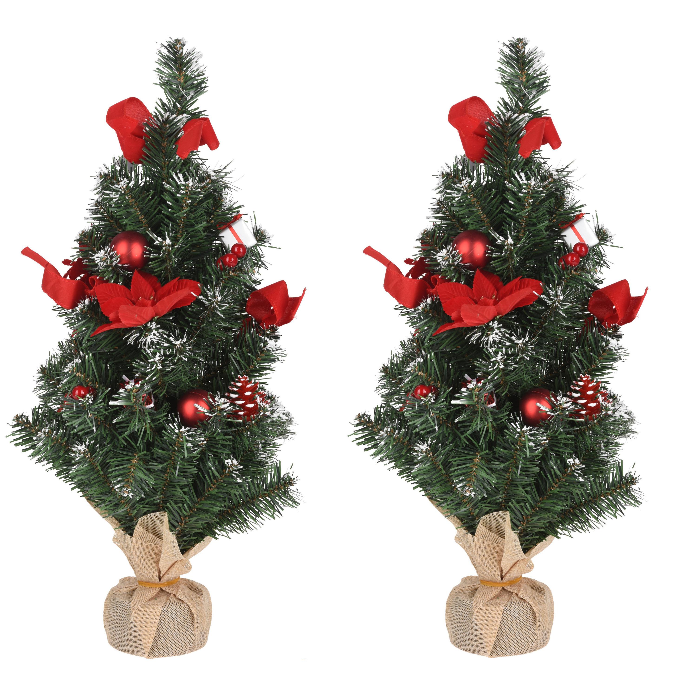 Set van 3x stuks kantoor-tafel kerstbomen met rode strikken versiering 60 cm