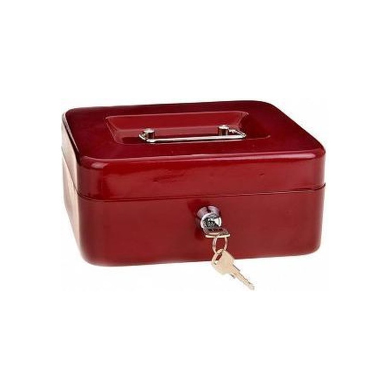 Set van 3x stuks metalen geldkluisjes-geldcassettes rood 20 cm