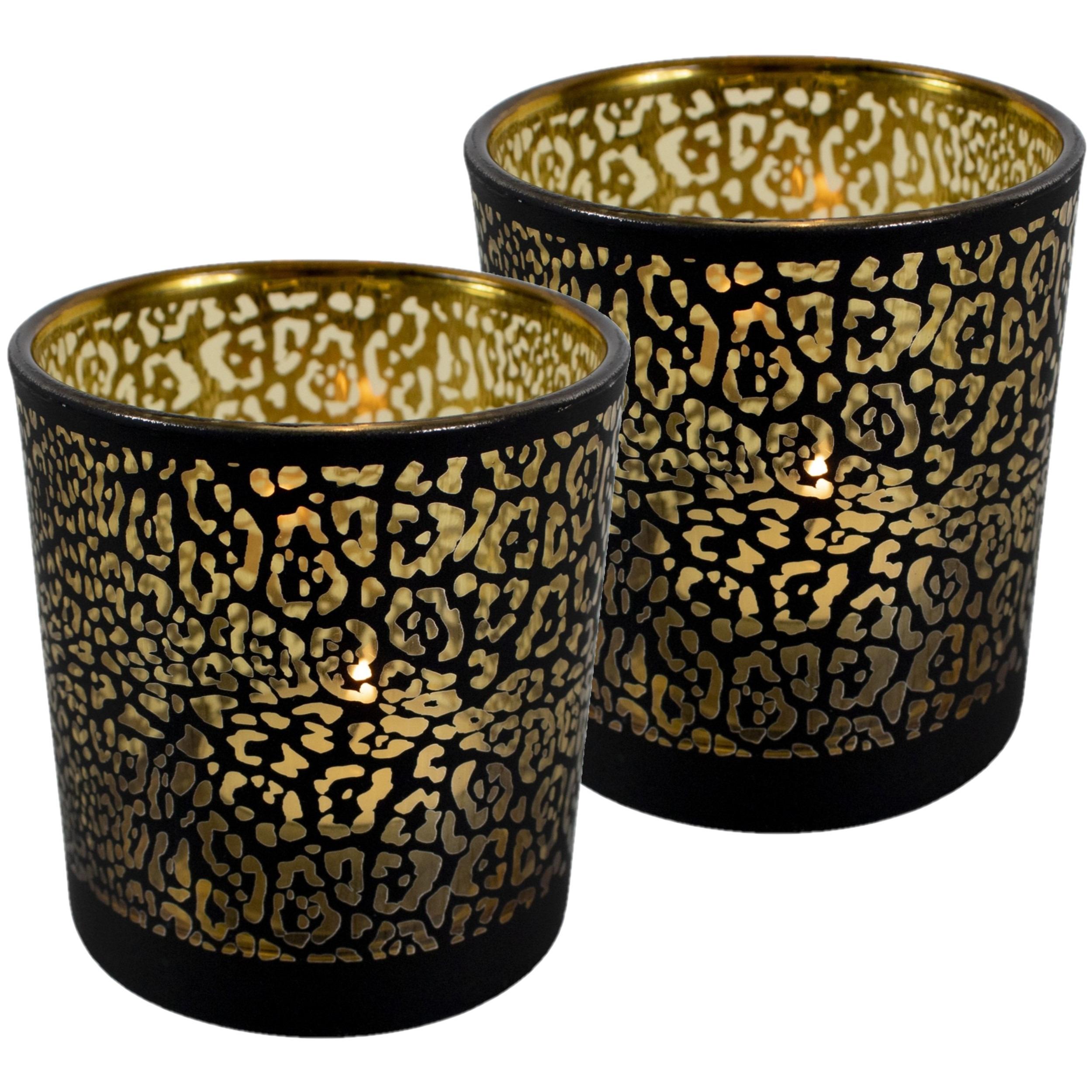 Set van 3x stuks theelichthouder-waxinelichthouder glas mat zwart 18 cm jaguar print