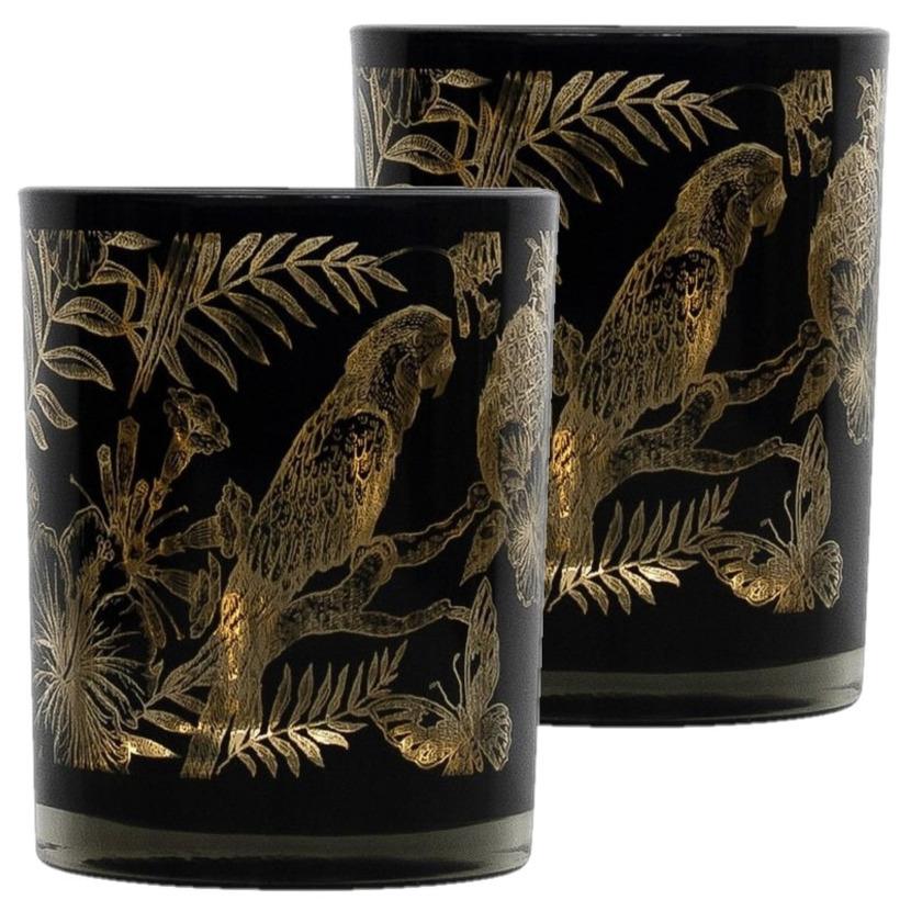 Set van 3x stuks theelichthouder-waxinelichthouder glas zwart 10 cm papegaai print