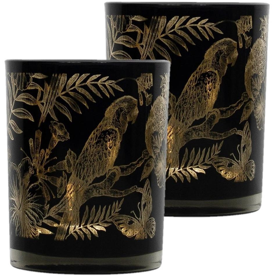 Set van 3x stuks theelichthouder-waxinelichthouder glas zwart 12 cm papegaai print