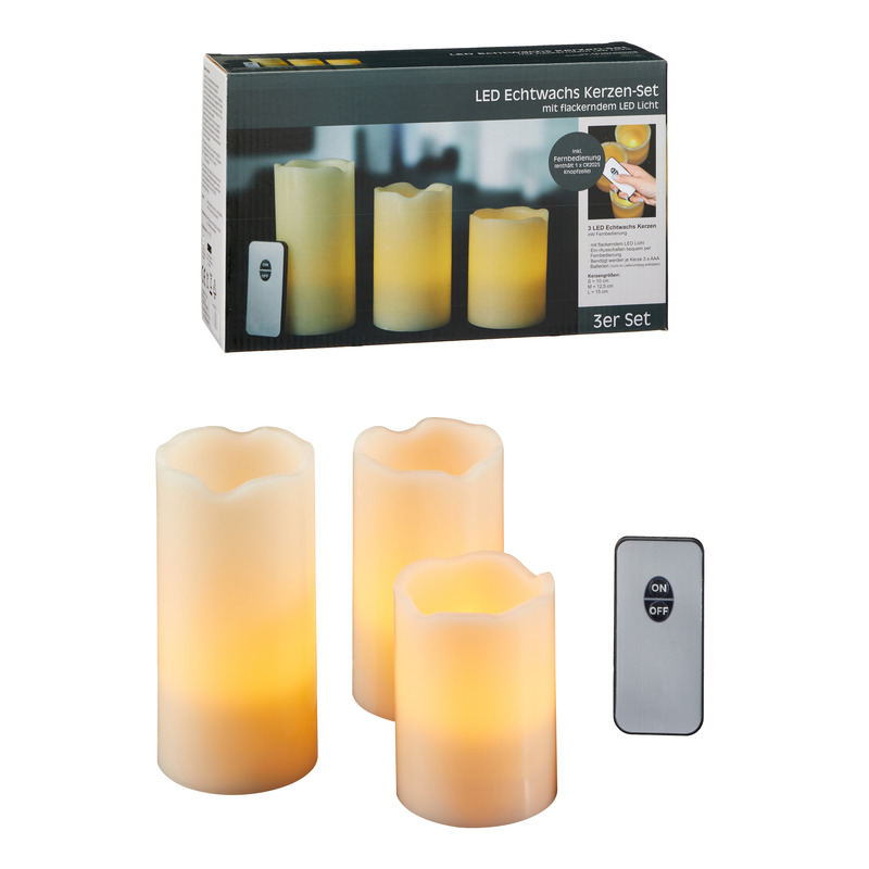 Set van 4x LED kaarsen-stompkaarsen met afstandsbediening