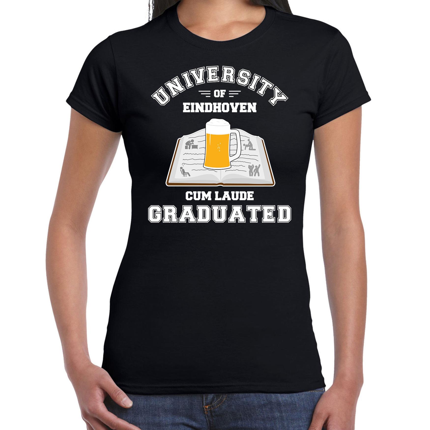 Studenten carnaval shirt zwart university of Eindhoven afgestudeerd voor dames