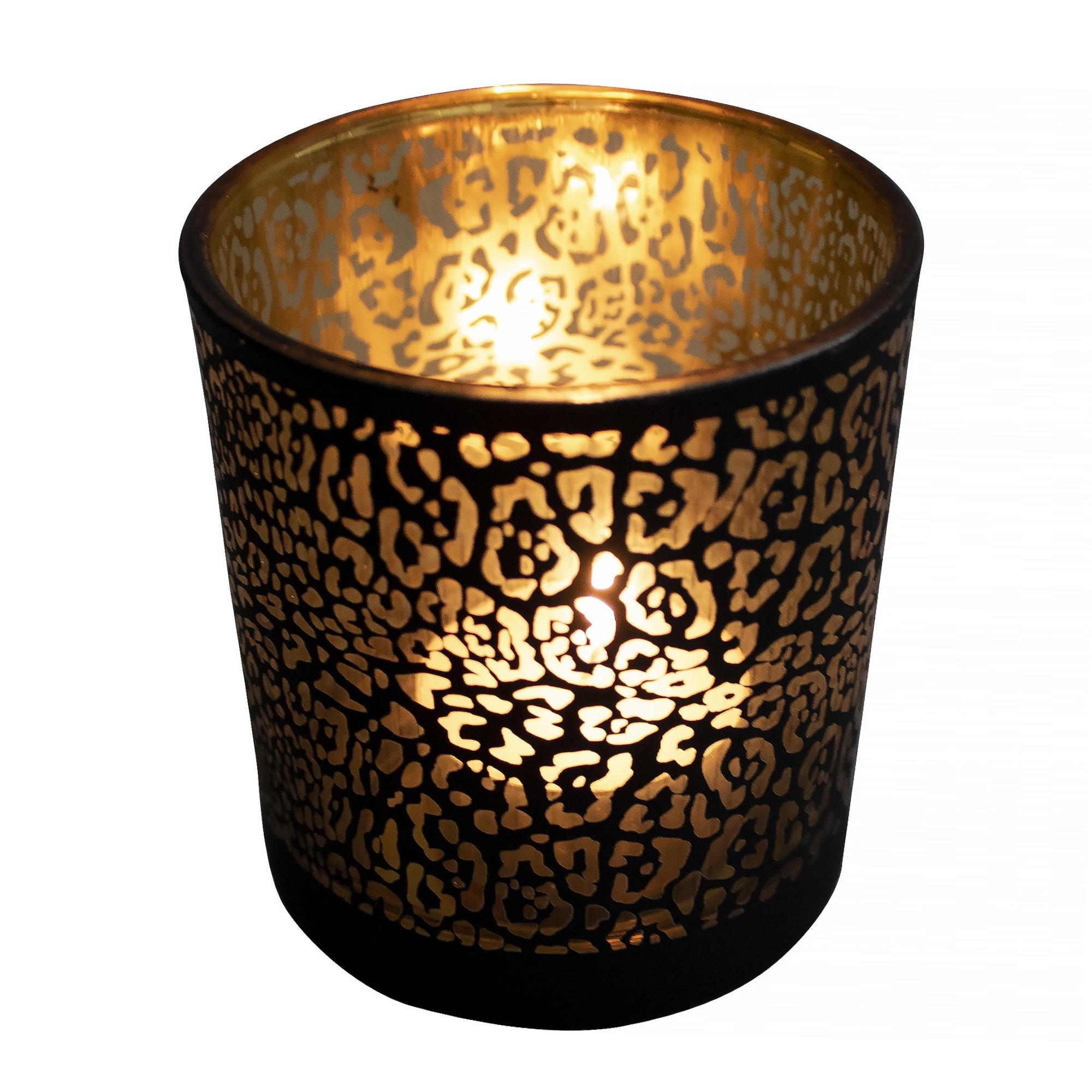 Theelichthouder-waxinelichthouder glas mat zwart 18 cm jaguar print