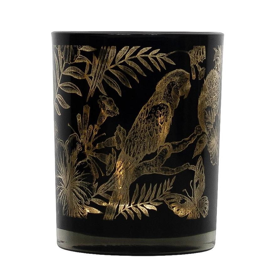 Theelichthouder-waxinelichthouder glas zwart 12 cm papegaai print