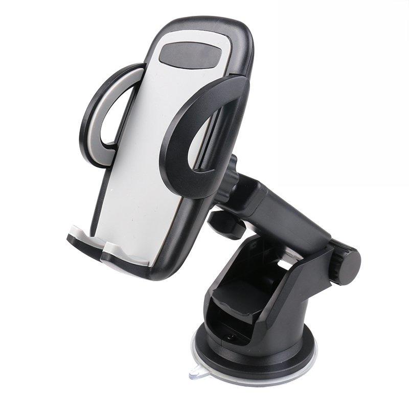 Universele smartphone houder voor in de auto met zuignap en verstelbare arm zwart