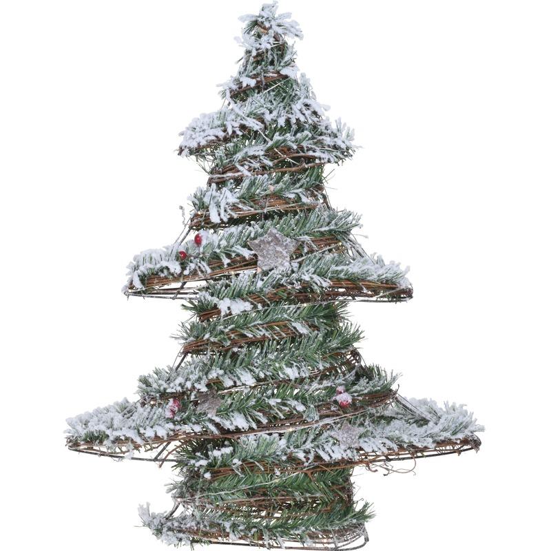 Warm witte lampjes rotan kunst kerstboompje 50 cm met kunstsneeuw