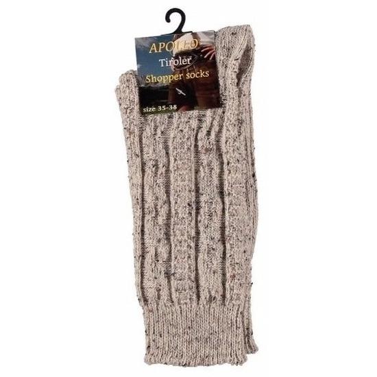 Warme gebreide sokken beige maat 43/46 voor heren