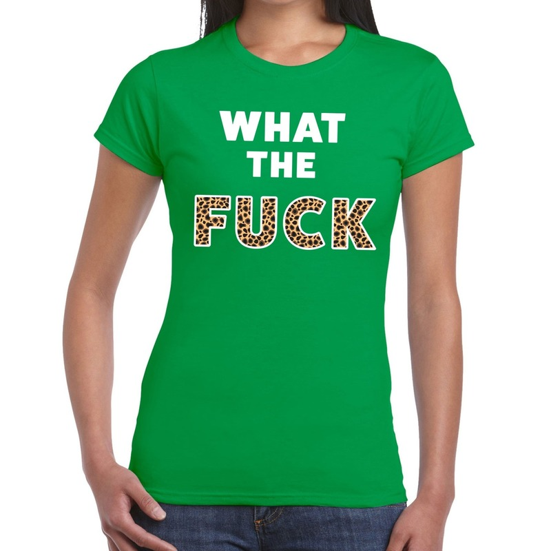What the Fuck tijger print fun t-shirt groen voor dames