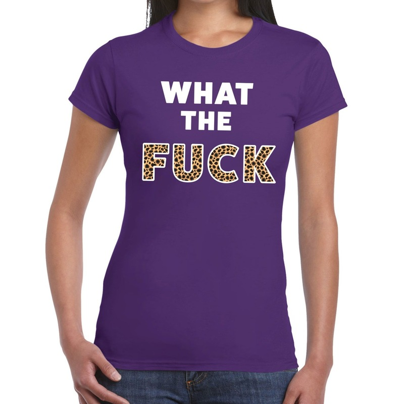 What the Fuck tijger print fun t-shirt paars voor dames