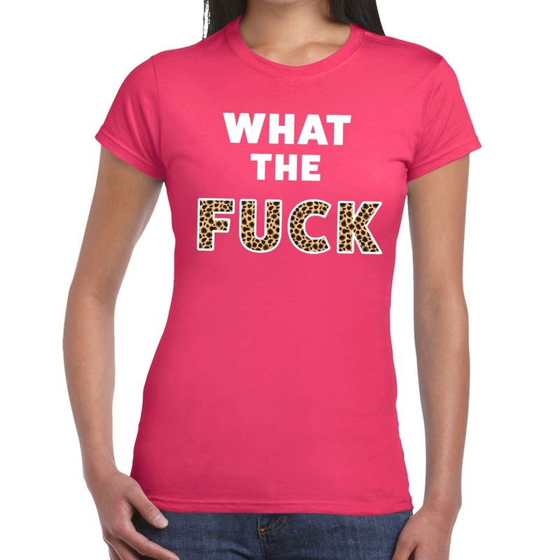 What the Fuck tijger print fun t-shirt roze voor dames