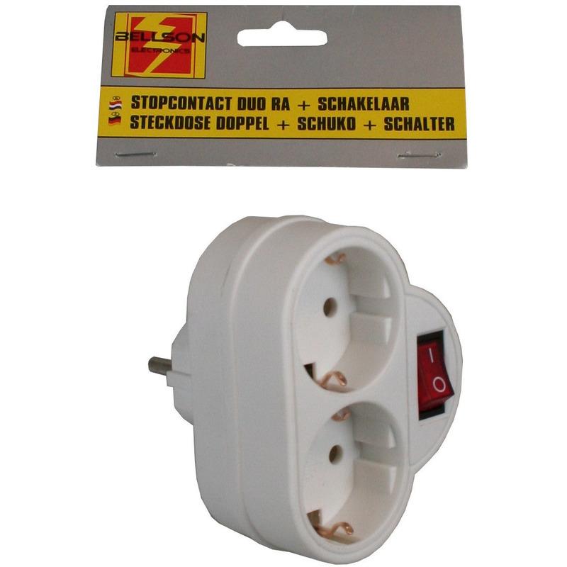 Witte stopcontact splitter dubbel met randaarde en schakelaar