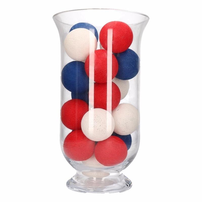 Woondecoratie rood-wit-blauwe verlichting in vaas