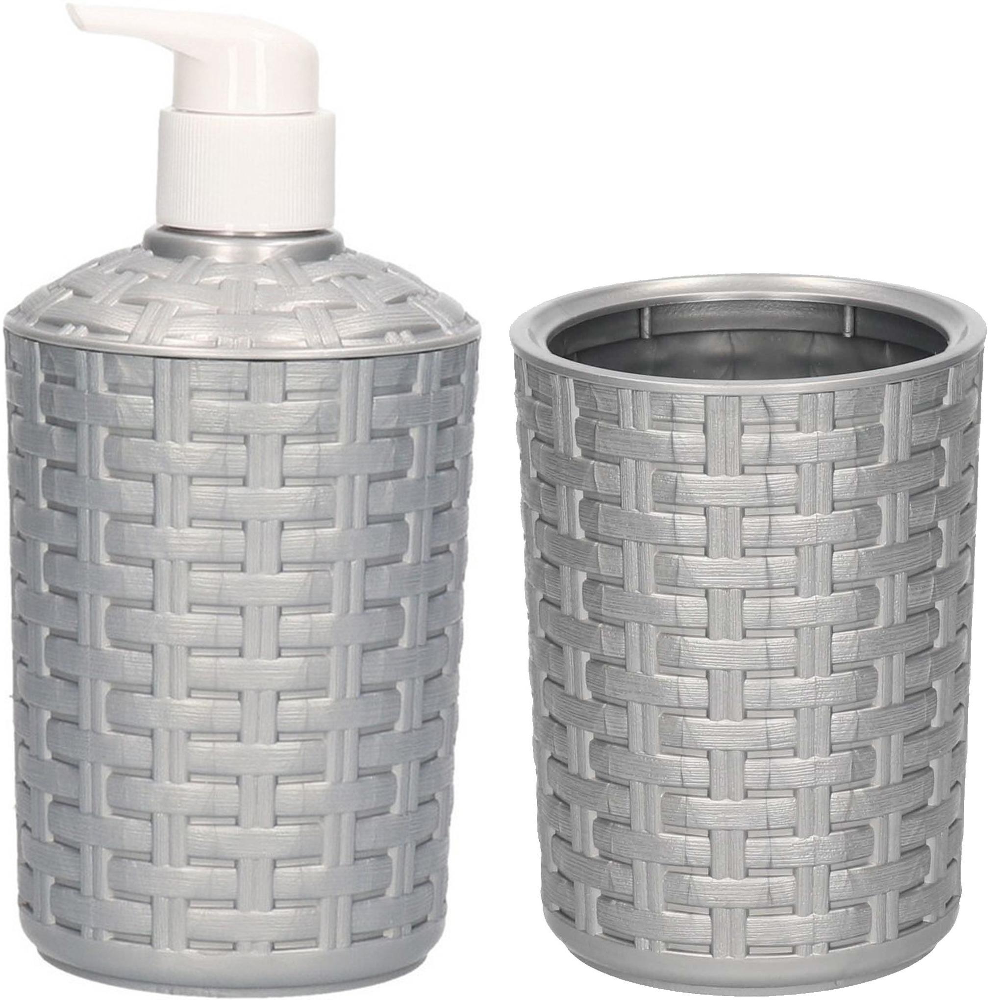 Zilver zeeppompje navulbaar en tandenborstelbeker set