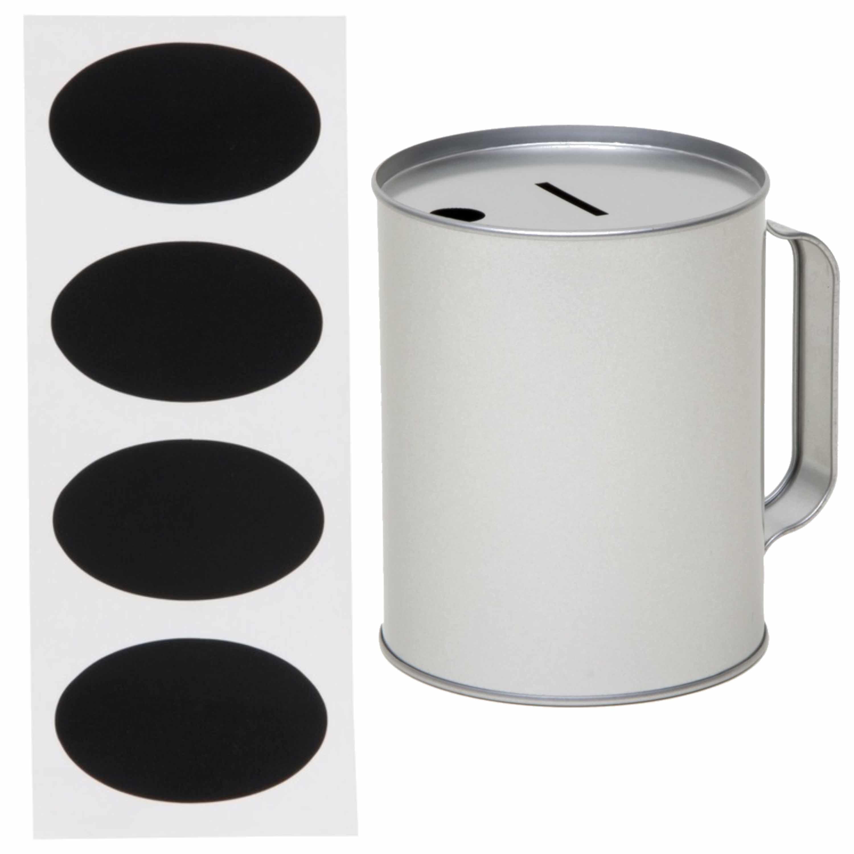 Zilveren blanco collectebus 10 x 13 cm met setje krijtstickers van 4,5 x 8 cm