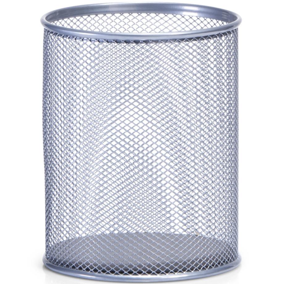 Zilveren ronde pennenbakken van draadmetaal-mesh 11 x 13 cm